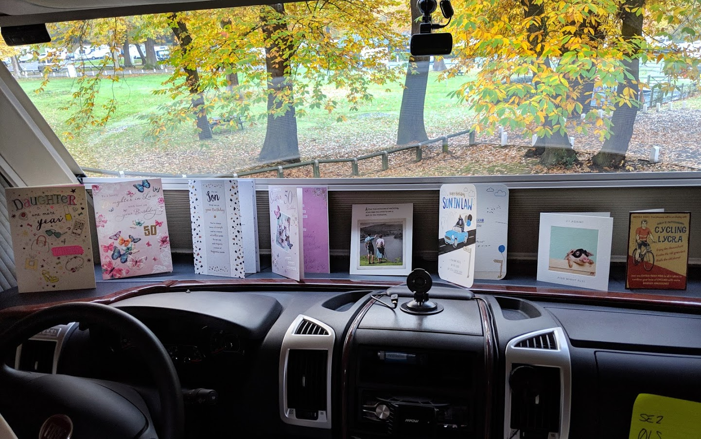 Not much room for birthday cards in a motorhome