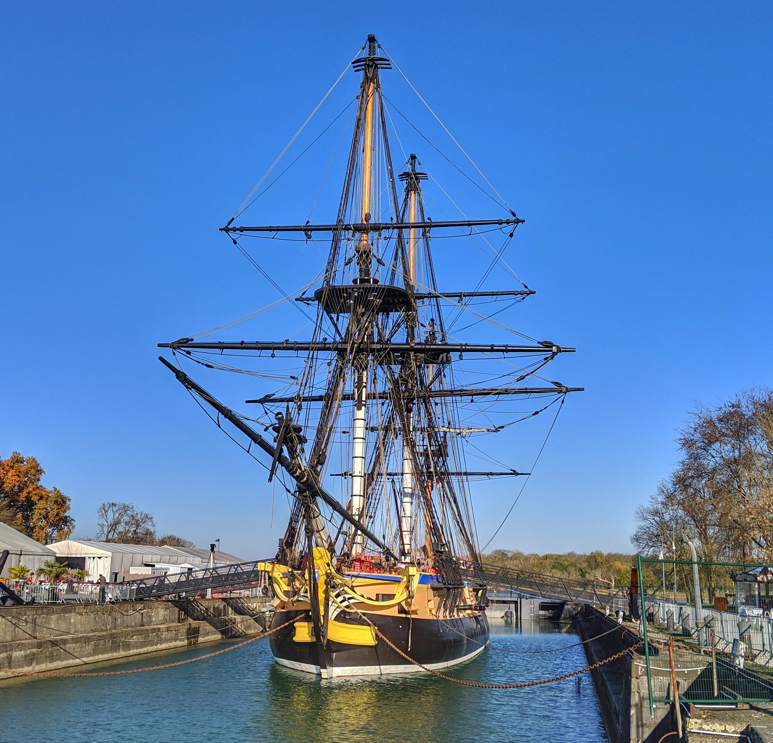 French naval ship replica Hermione in Rochefort