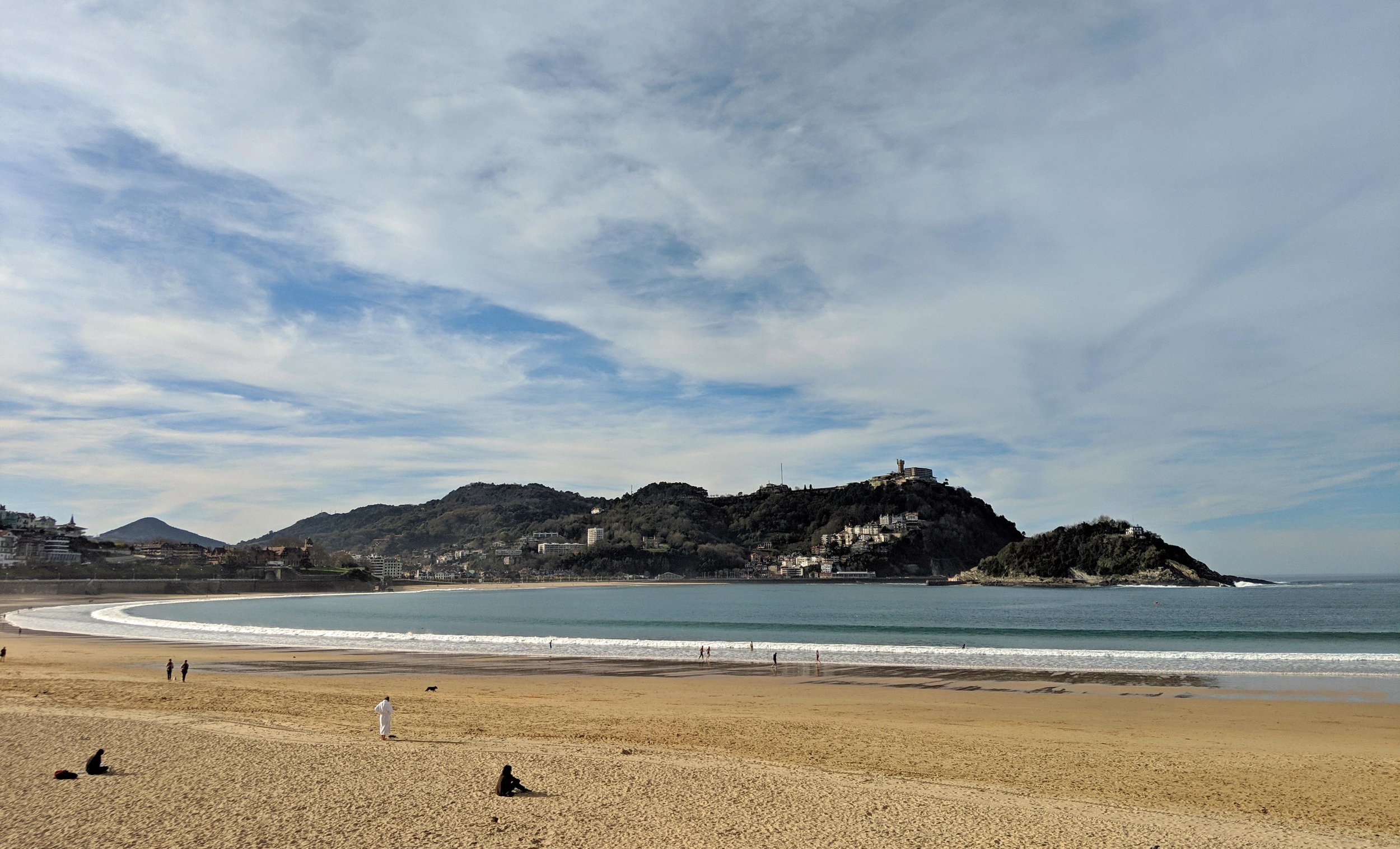 Beautiful sweeping bay of San Sebastian from the old town