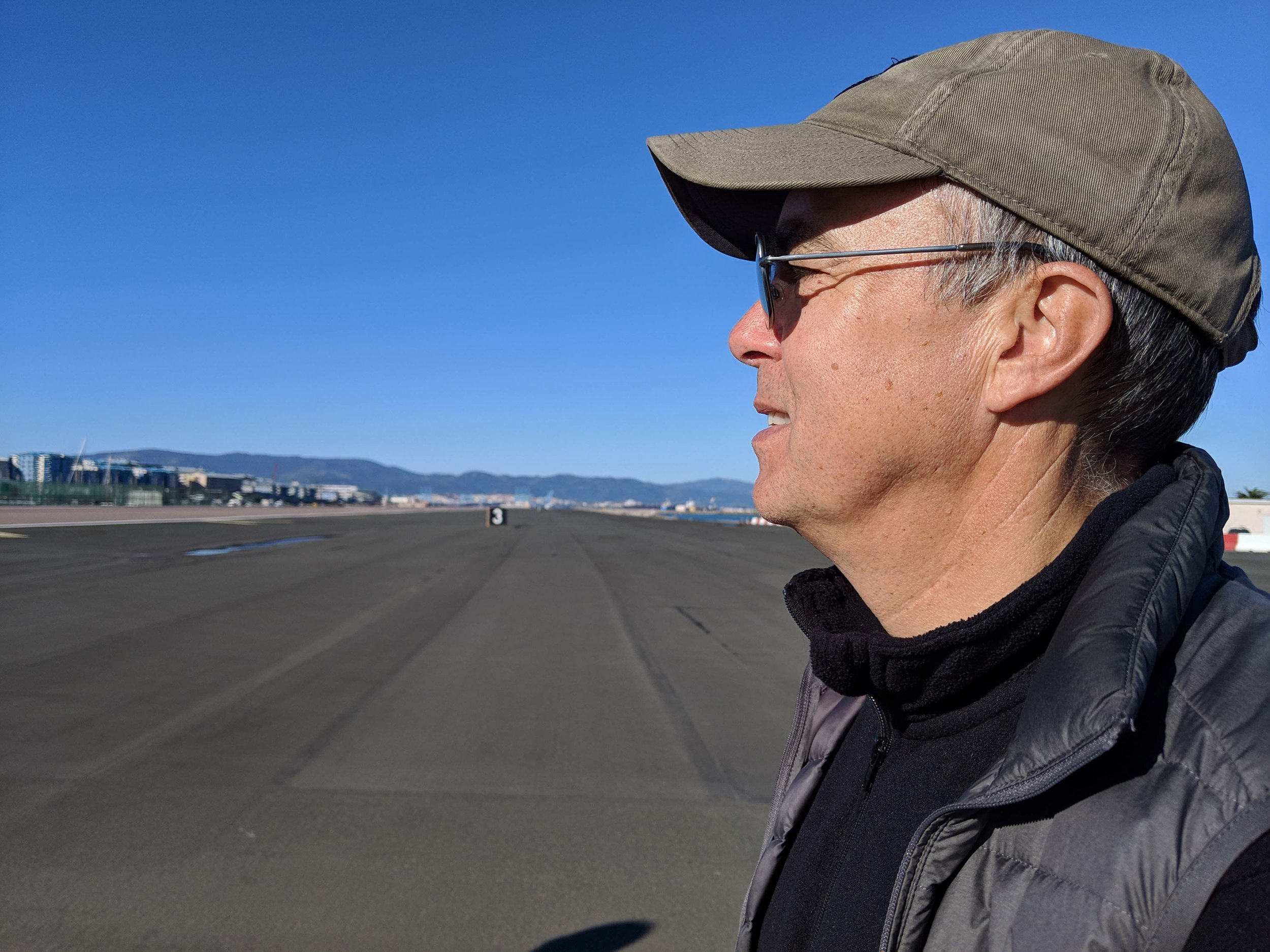 Walking across the runway