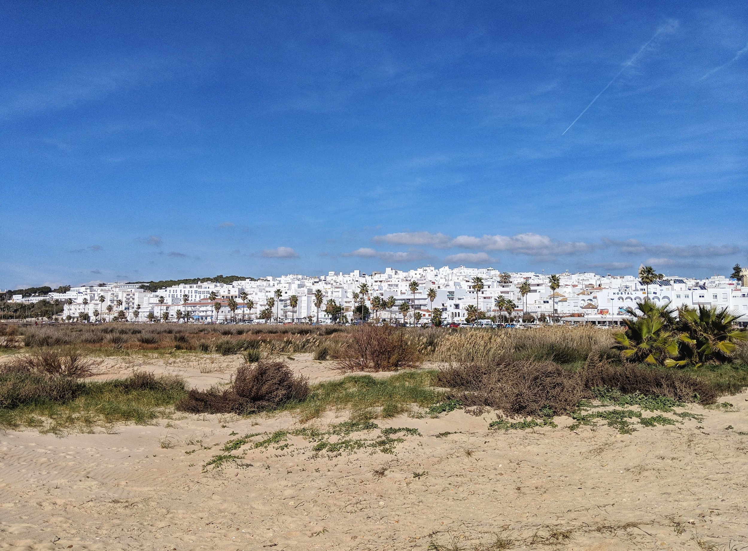 Looking back at the town from the beach in Conil