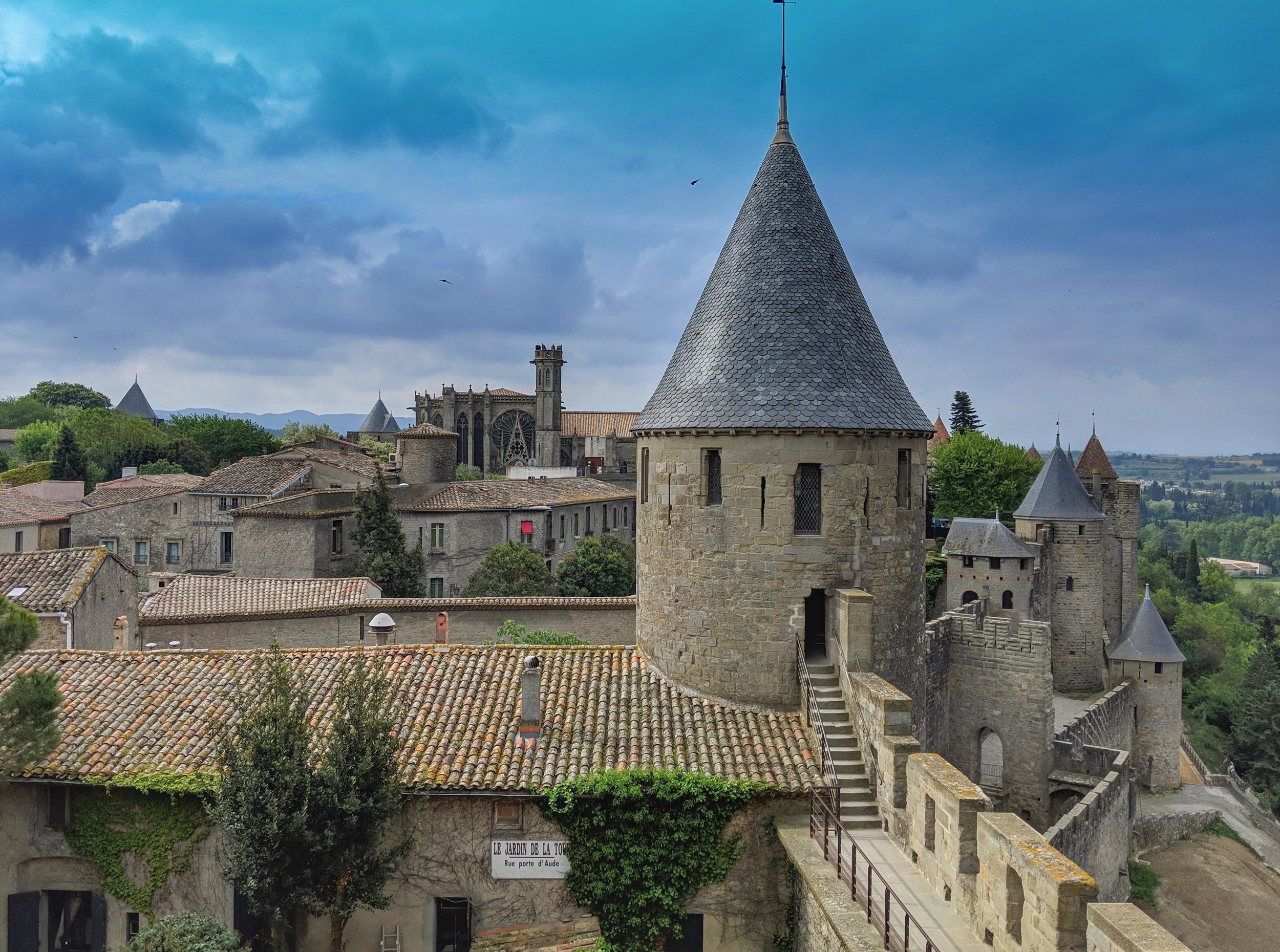 Wandering the ramparts at Carcassonne