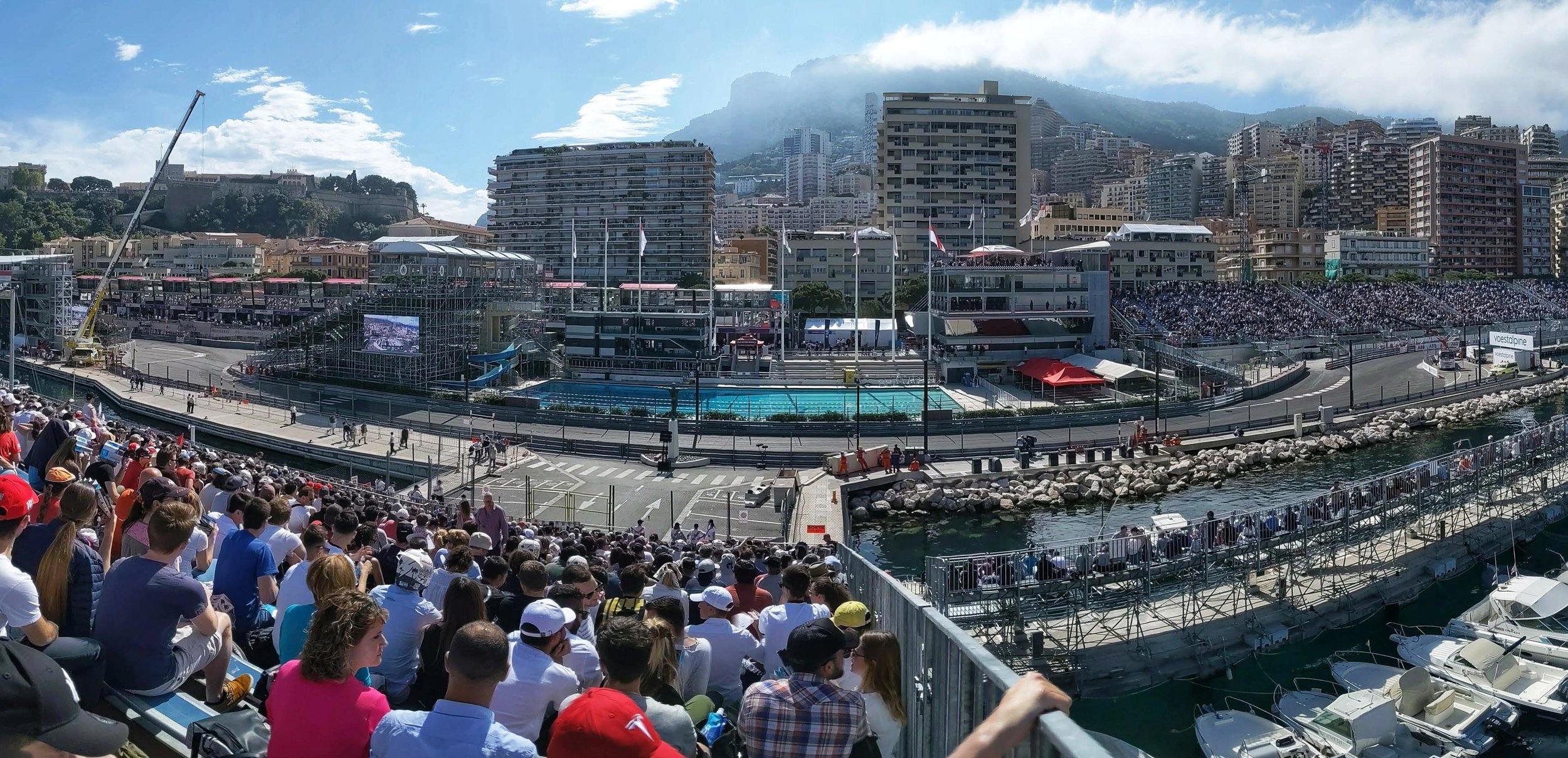 Panoramic view of Monaco from our race seats