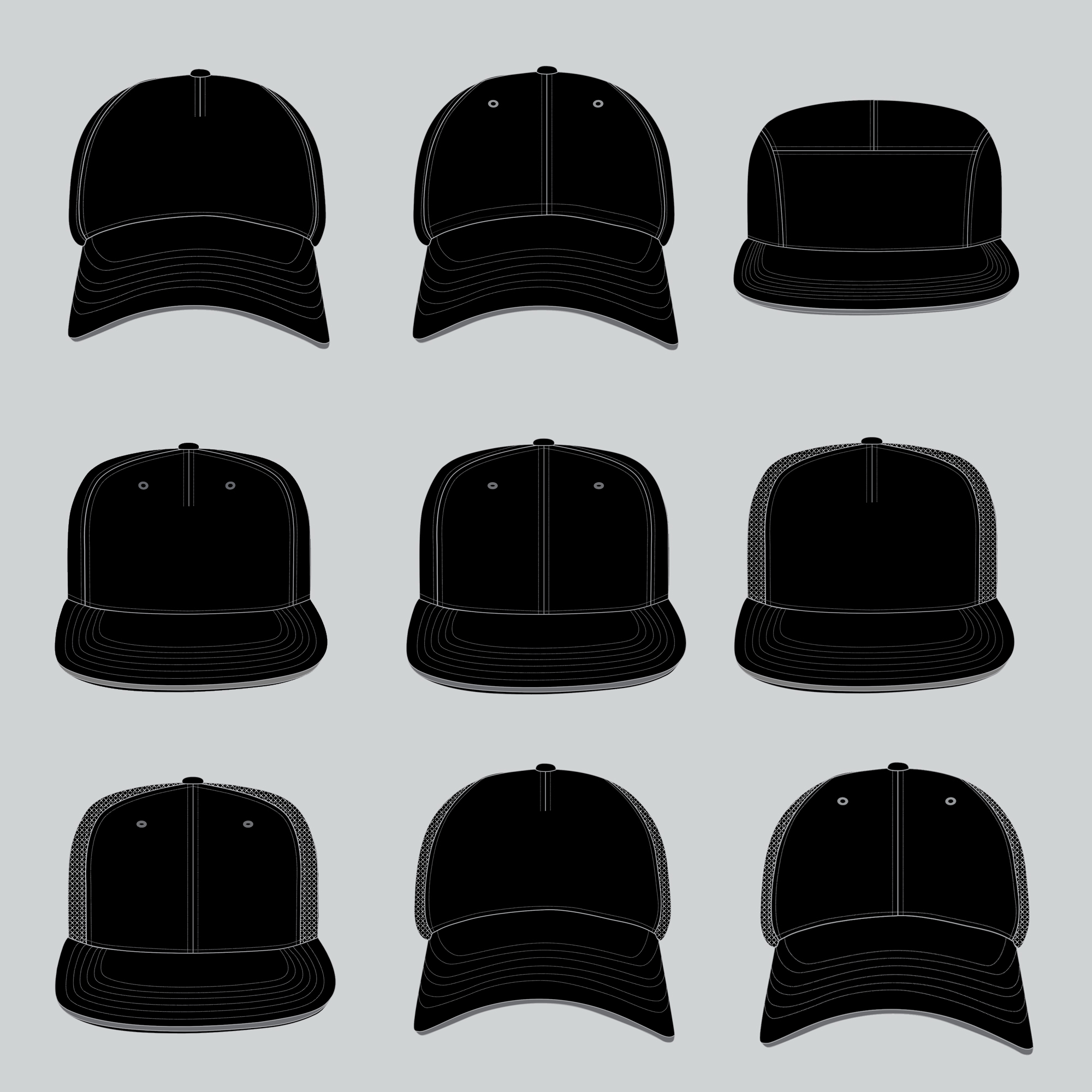 11 STYLES - BCF. 5-PANEL BASEBALL CAPBCS. 6-PANEL BASEBALL CAPBCD. 6-PANEL DAD HATBCC. 5-PANEL CAMPER HATSBF. 5-PANEL SNAPBACK CAPSBS. 6-PANEL SNAPBACK CAPTBF. 5-PANEL TRUCKER CAPTBS. 6-PANEL TRUCKER CAPTSF. 5-PANEL FLAT-BRIM TRUCKER CAPTSS. 6-PANEL FLAT-BRIM TRUCKER CAPTDS. 6-PANEL TRUCKER DAD HAT
