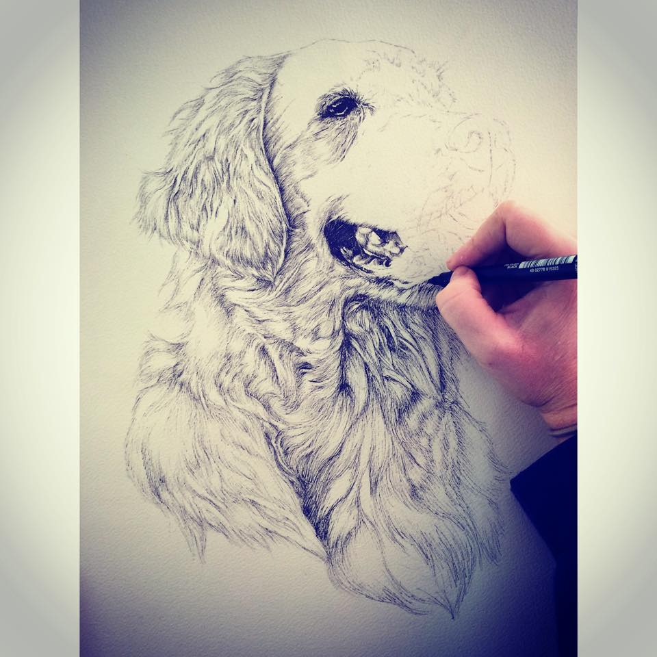 Artist Kate Simpson working on a commission