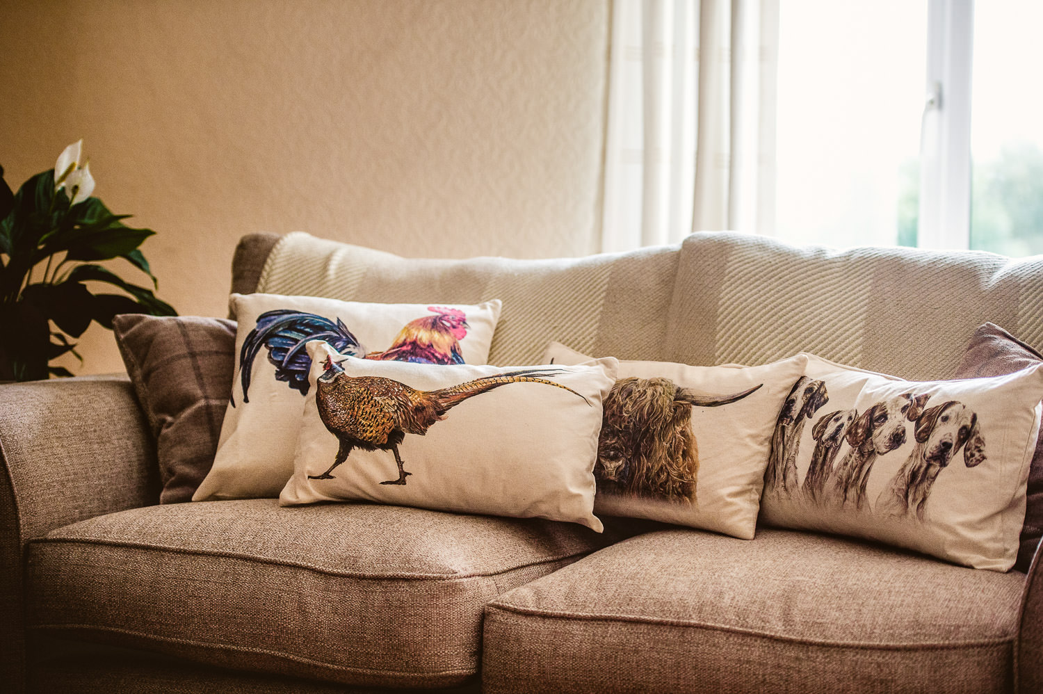 Linen Cushions with original Art Animal Portraits by Kate Simpson