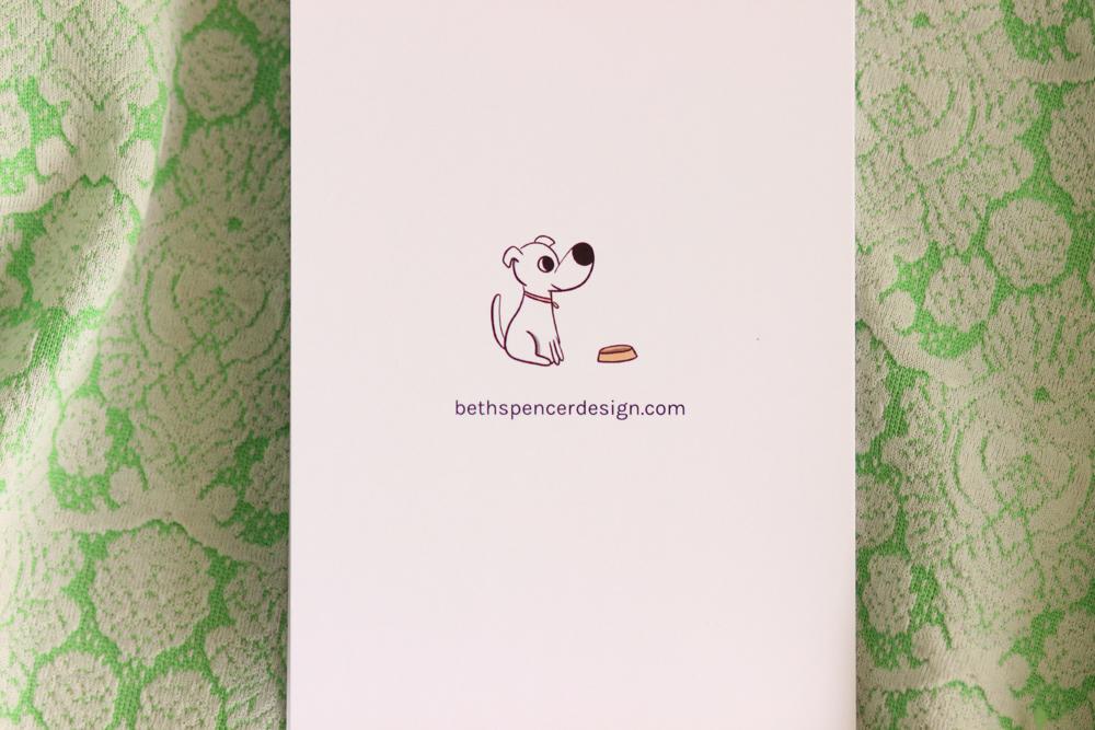 Cute Dog Illustration on Back of Card