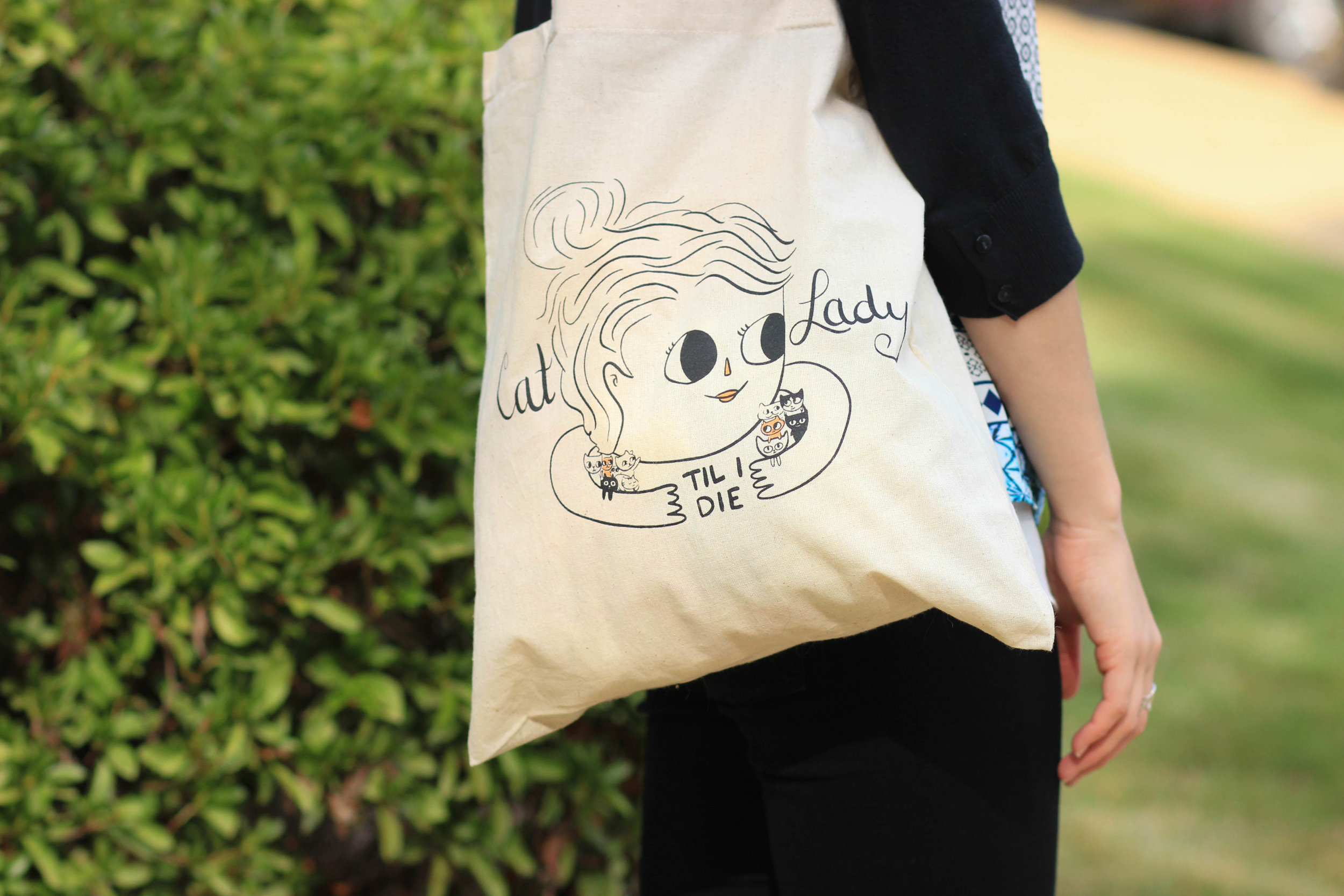 This Cat Lady tote is purrfect for hauling books, wine or cat toys!