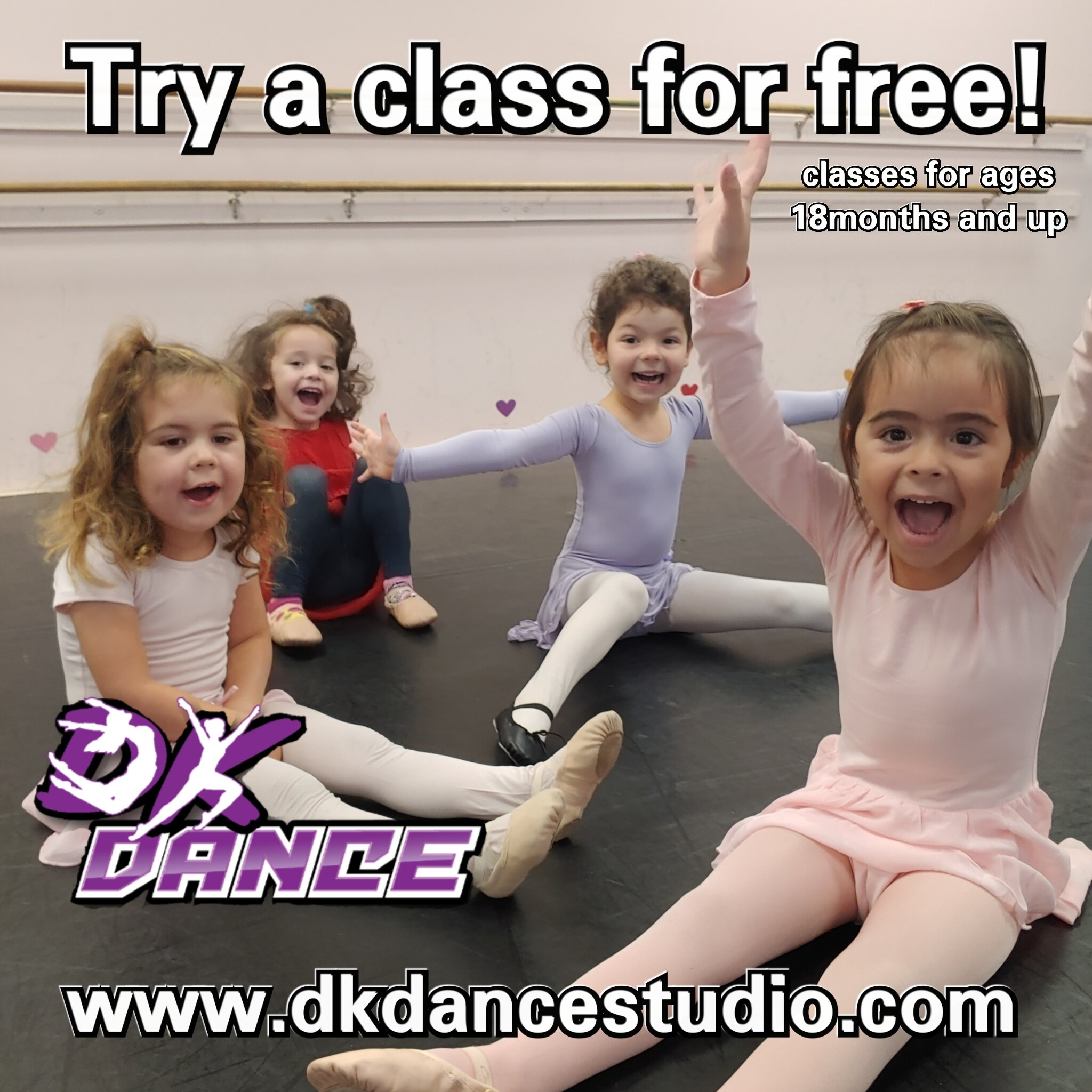 FREE TRIALS! - ANY AGE is a GREAT AGE to try DANCE!We offer classes for as young as 18 months through Adults!