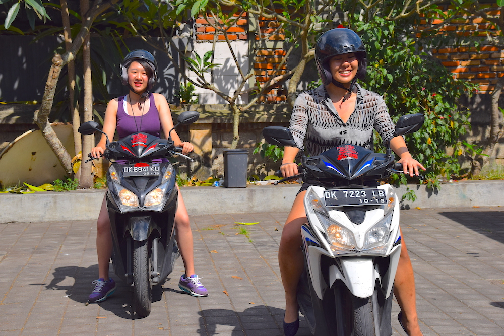 Diane and Akina learning how to scoot!