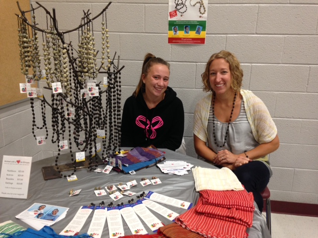 Heather McKinnon (right) and her student helper, Hailey (left)