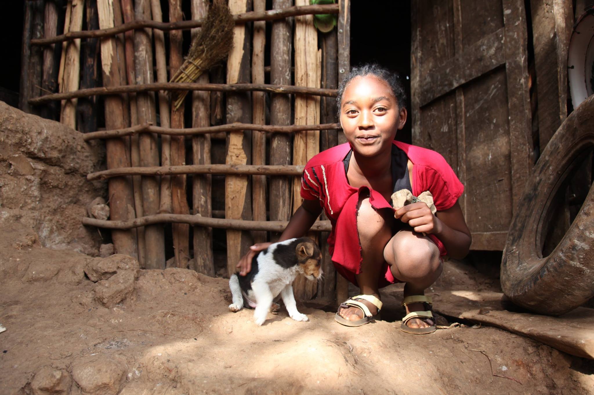 GGRF Athletic Scholar Firehiwote and her new puppy at her home in Sodo, Ethiopia.
