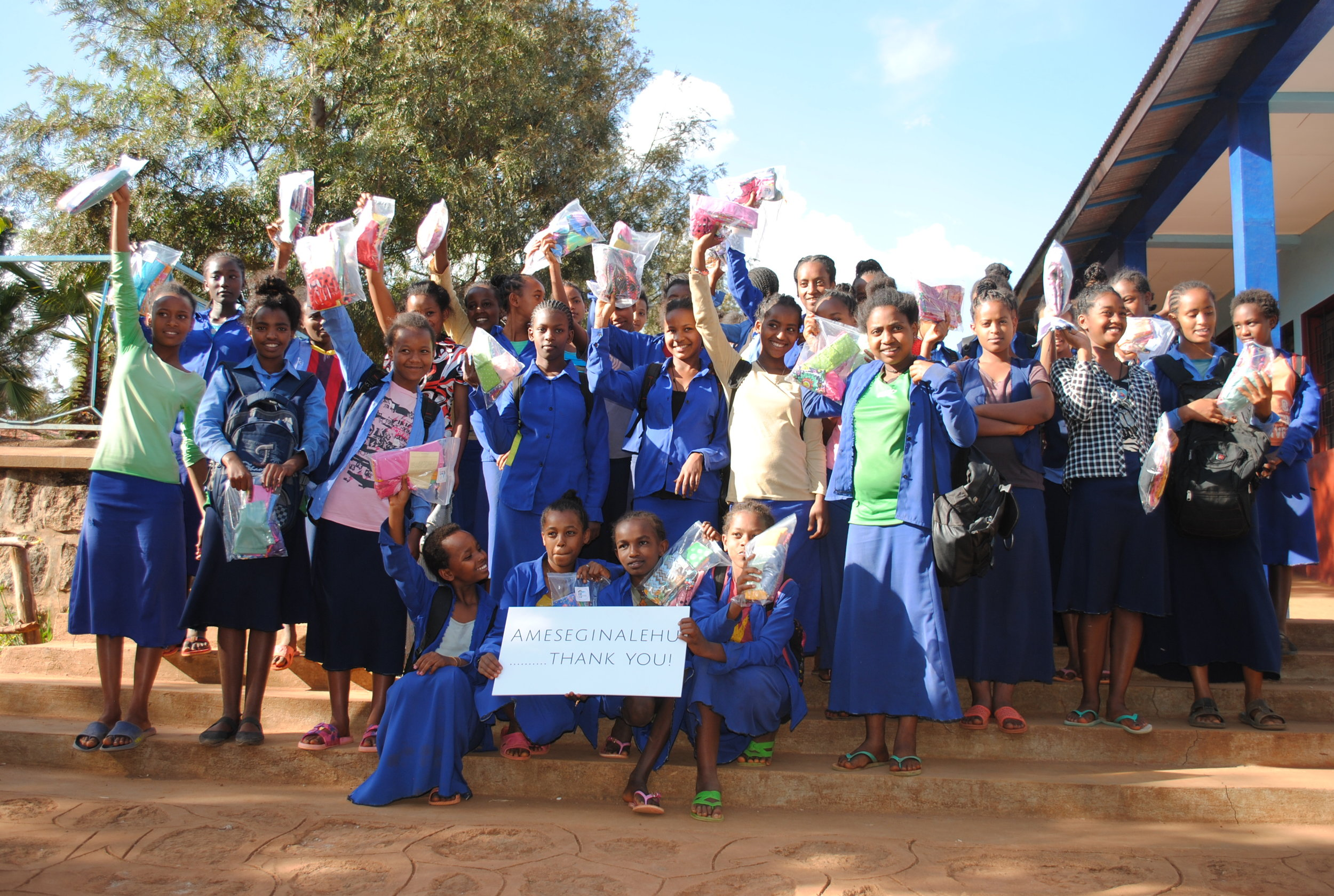 Mothers with a Heart for Ethiopia donated a WRAPS kit, including eight WRAPS (washable, reusable, affordable pads), a wet bag and a pair of underwear to all 55 students in the Girls Gotta Run program at Abba Pascal School for Girls.