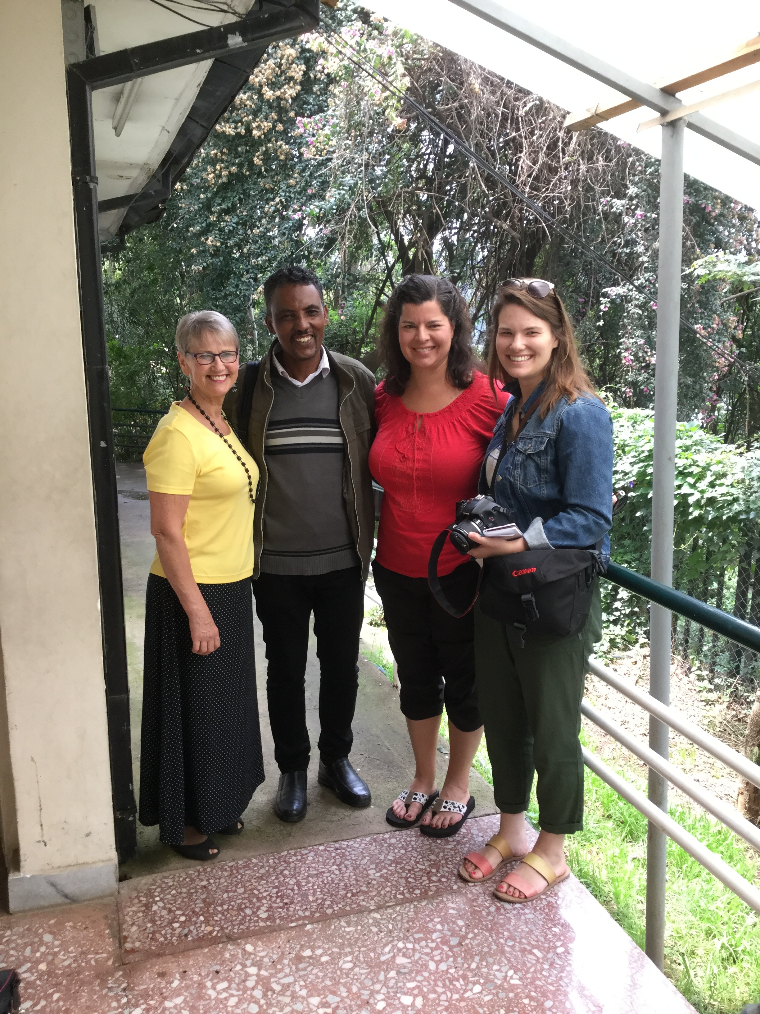 Val, Shelley and Megan with Zenebe Mesfin, Fistula Hospital Chaplin and our tour guide.