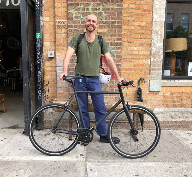 Happy new bike day to Ryan! Looks like we've got another biker on our hands... 😎 . . . . . . #newbikeday #bicycle #bikeshop #shoplife #bikelife #bushwick #brooklyn #nyc #bikenyc #bikebrooklyn #fyxation #fyxationpixel #singlespeed #steelframe #havencycles #neverestablished