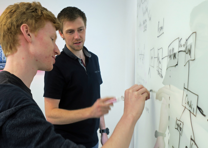 Gary and Sam Hall iterating the workflow of the app