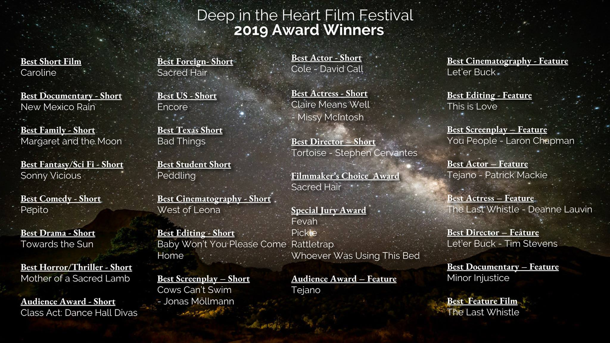 List of winners for Deep in the Heart Film Festival 2019