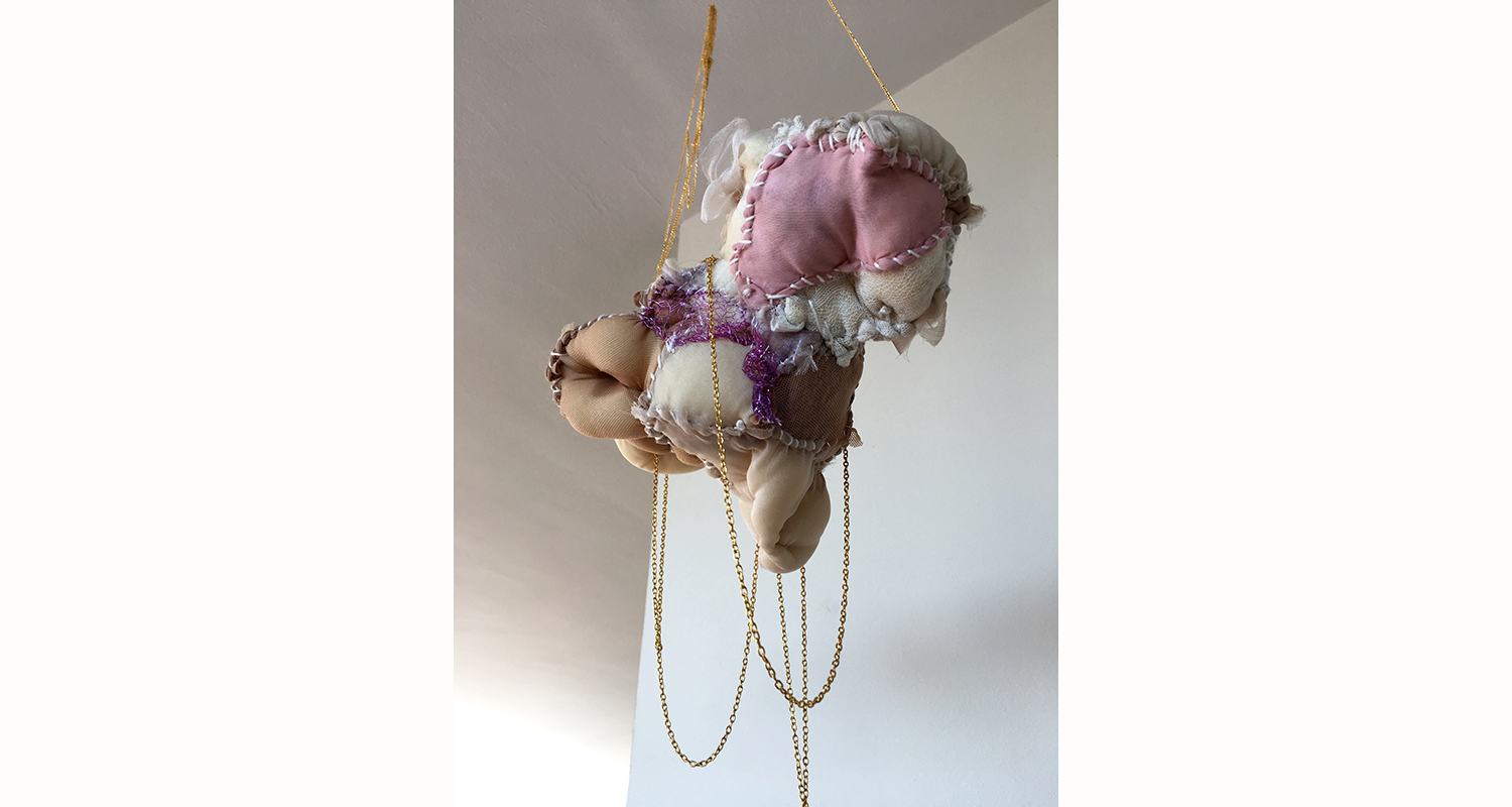 "Hanging Body: Cloud (2017); 11"" x 4"" x 30"""