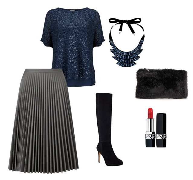 Midi Pleated skirt outfit Xmas
