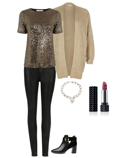 Knitwear and sequin day look