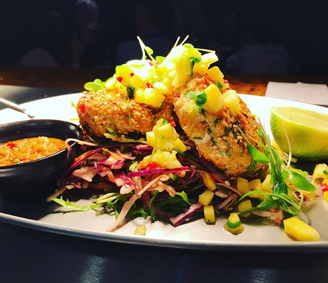 """""""In Your Bake"""" Made an appearance @57 Str Rd this evening, thai fish cakes crispy slaw pineapple & mango salsa, peanut sauce, bursting with flavour! Few left for Father's Day why not treat your DA! Xx"""
