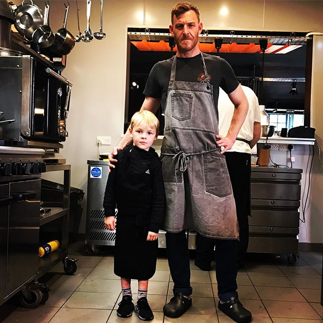 """Afternoon Derry City id like you all to meet our newest member of the crew Chef Lewis """"cue serious chef face"""" haha . . . . #futurechef #holidays #schoolsout #goodcraic"""