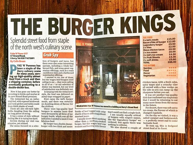 Yes Derry City  Nice write up in the @sundaylifenews Not to sure about the title now ✌🏼 . . . . . . #burger #burgerkings #sundaylife #pykenpommes #pyke #streetfood #streetlife #rtenationwide #flavourtown #cheflife #goodvibes #keeppushing #beautiful