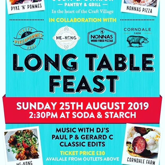 Morning Derry! Still a few places left this Sunday for the #longtablefeast we will be hooking up with @sodaandstarch @mekongstreetfood @nonnas_wood_fired @corndalefarm @northboundbrewery DJs Paul P & Gerard C for Beats Booze and Banging Food! Tickets available at all businesses outlets worth checking out dudes✌🏼 . . . . . #local #streetfood #longtablefeast #tacos #ribs #pizza #spitroast #curry #beer #beats