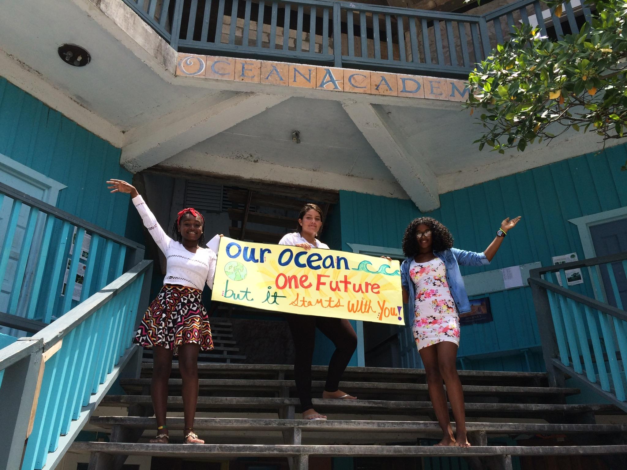 Students from Ocean Academy, Caye Caulker Beliz.