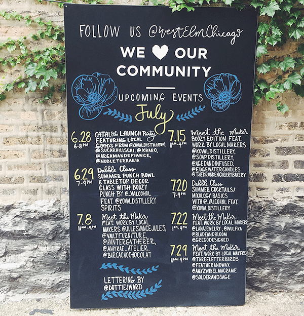 Handlettered chalkboard-Chicago store