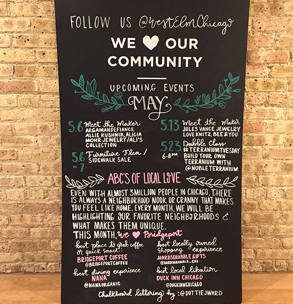 Handlettered chalkboard–Chicago store