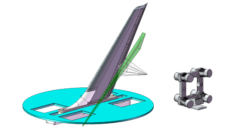 A SolidWorks rendition of 3D DDPIV being used to study the flow field around an aircraft's vertical tail. The green volume represents the laser-illuminated flow which the four-camera DDPIV setup is studying.