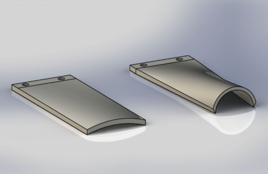Flexible flat plates are actuated such that their free ends now have a chord-wise curvature.