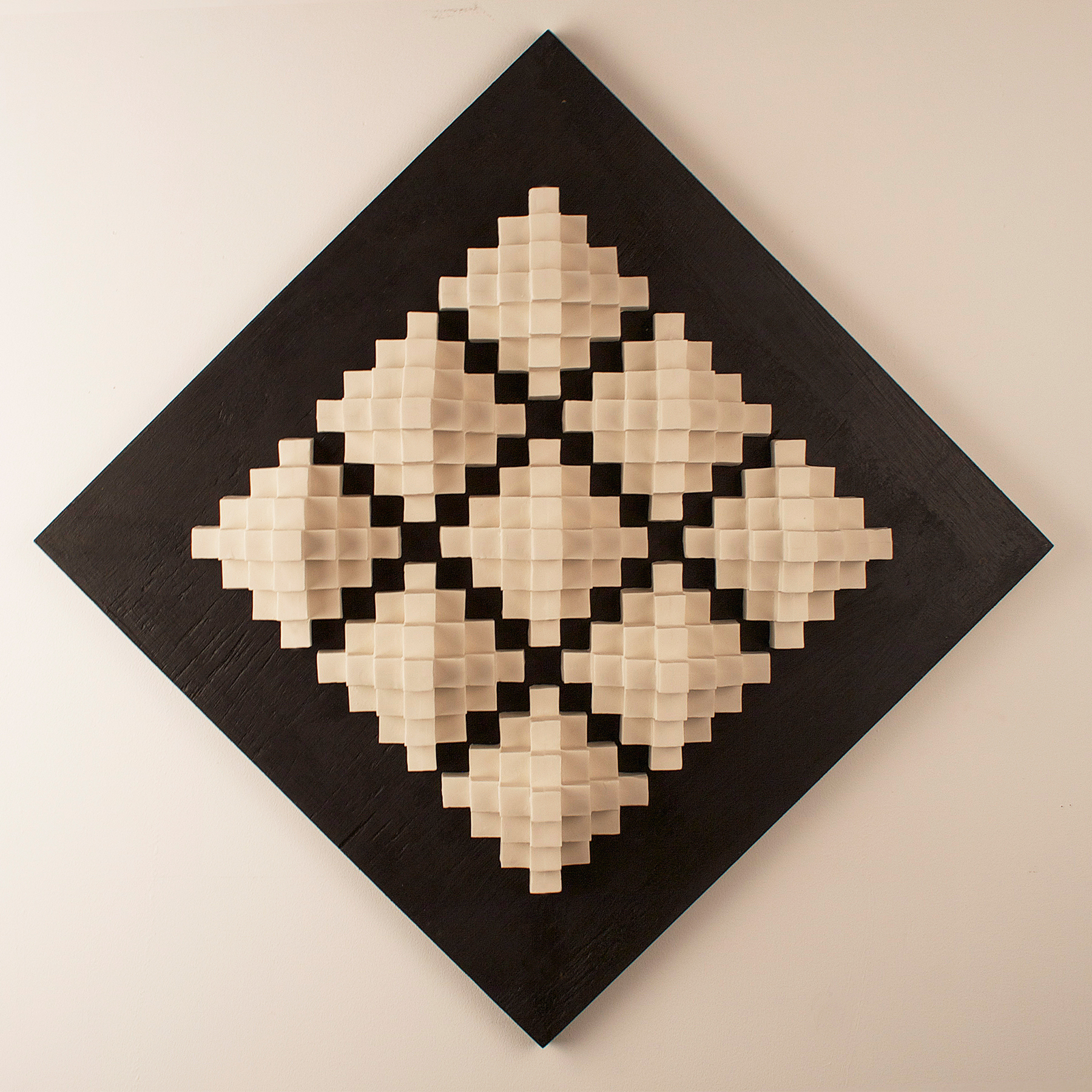 Cubic Series: Wall Panel IX  |  18 x 18 x 5 inches  |  Porcelain, Stained birch  |  2015