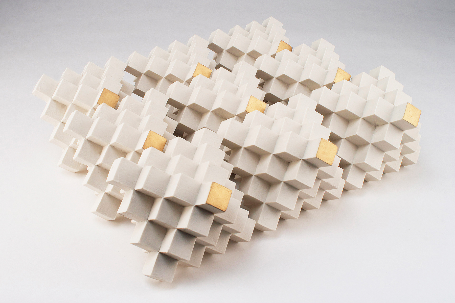 Cubic Series: Octahedrons  | Each:  5 x 5 x 5 inches  | Porcelain, Gold leaf  |  2016