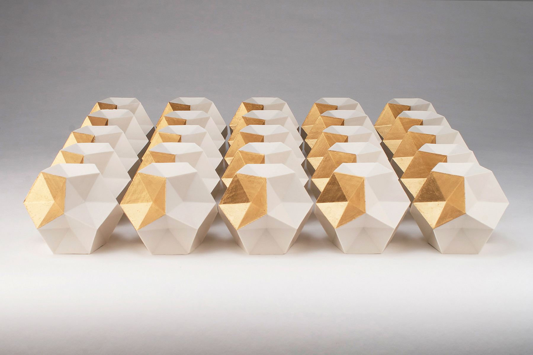 Dodecahedron Series  | Each:  5 x 5 x 5 inches  | Porcelain, Gold leaf  |  2016
