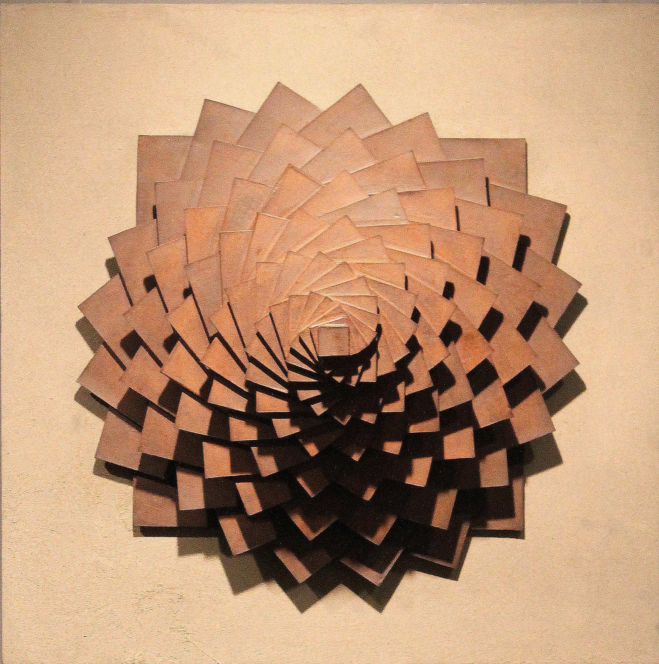 Harmonic Geometry I  |  25 x 25 x 12 inches  | Stoneware, Stained birch, Sand  |  2015