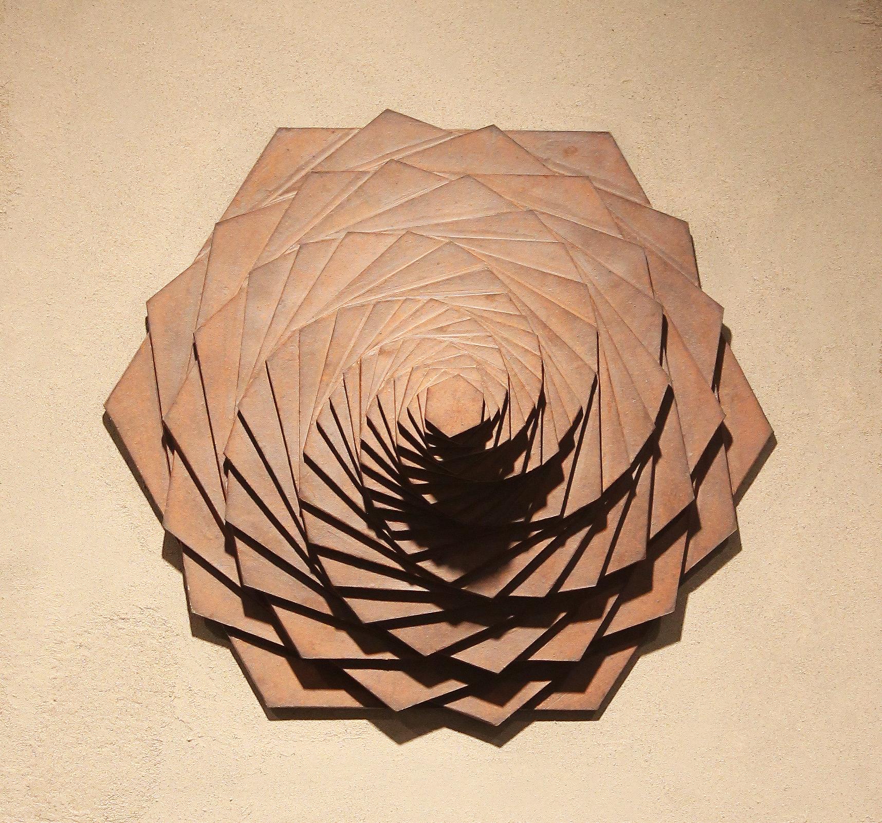 Harmonic Geometry III  |  18 x 18 x 9 inches  | Stoneware, Stained birch, Sand  |  2015