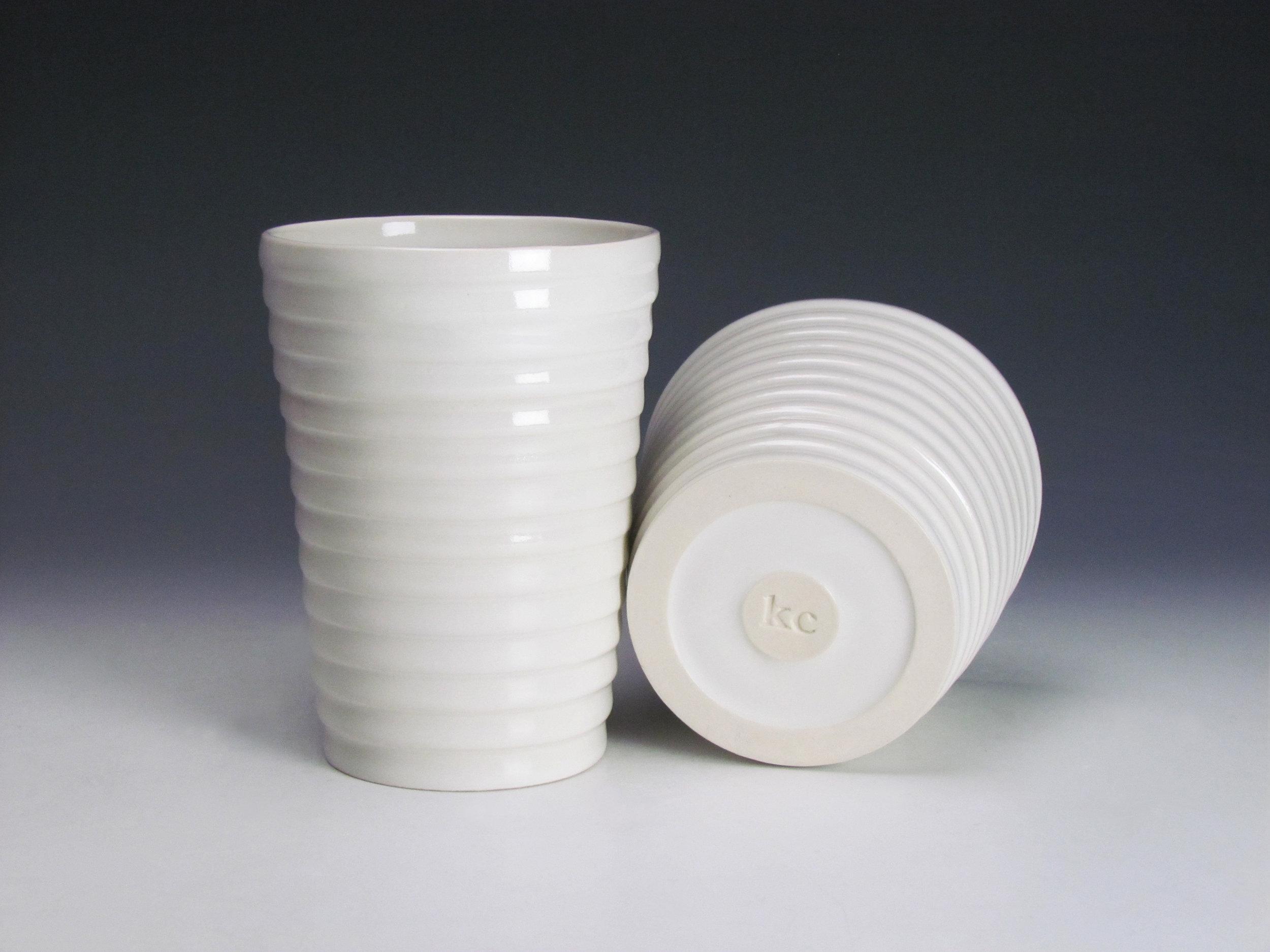 Tumblers (White)  |  Each: 7 x 3 x 3 inches  |  Porcelain, Glaze  |  2016