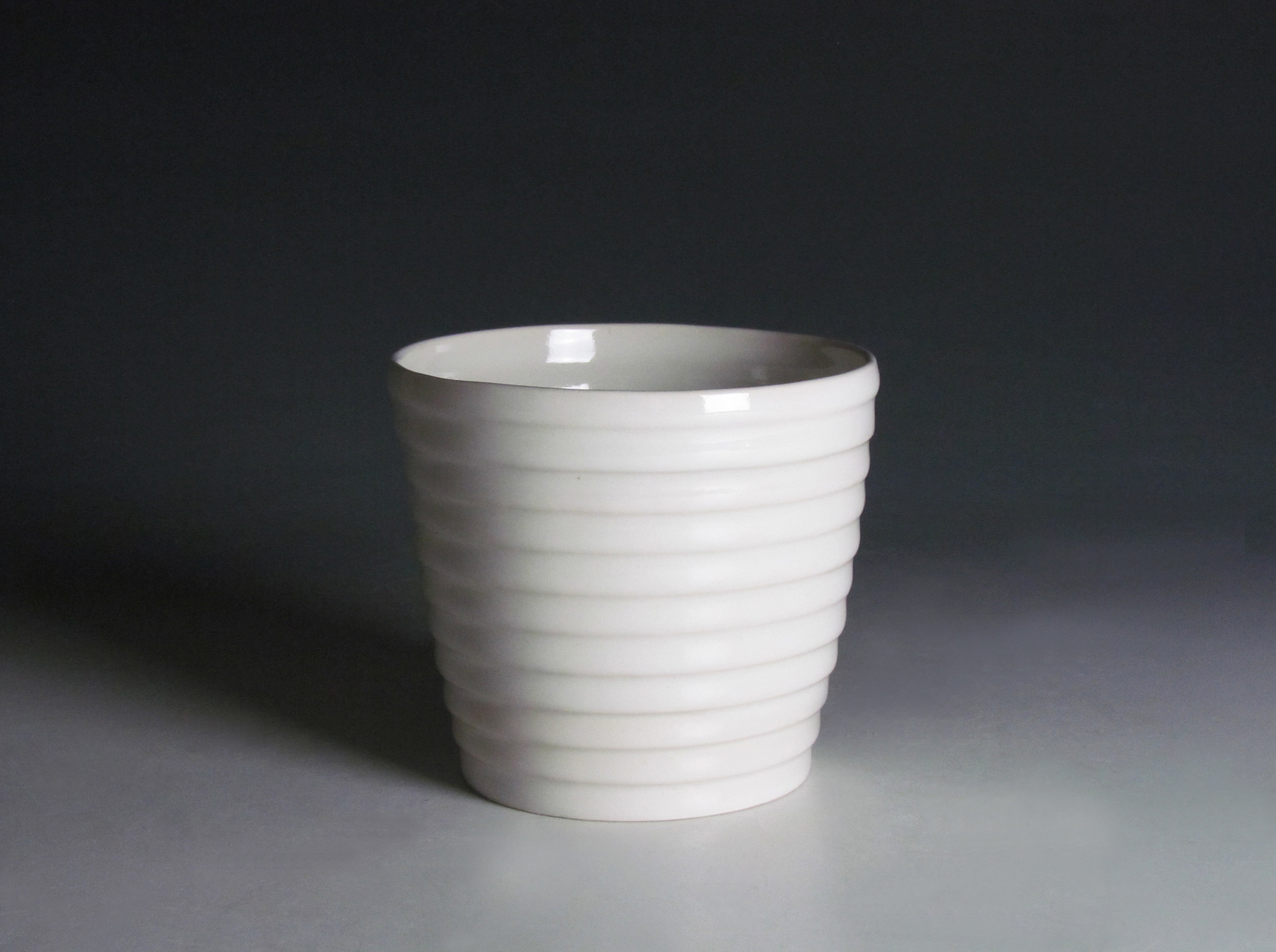 Cup (White)  |  6 x 4 x 4 inches  |  Porcelain, Glaze  |  2016