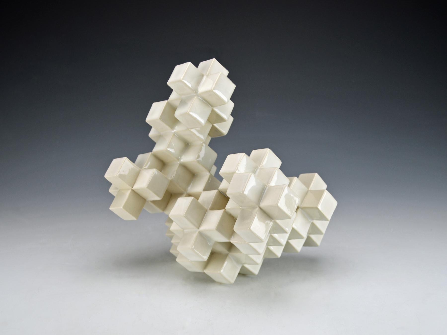 Cubic Series: Construction II  |  11 x 9 x 9 inches  |  Porcelain, Glaze  |  2017