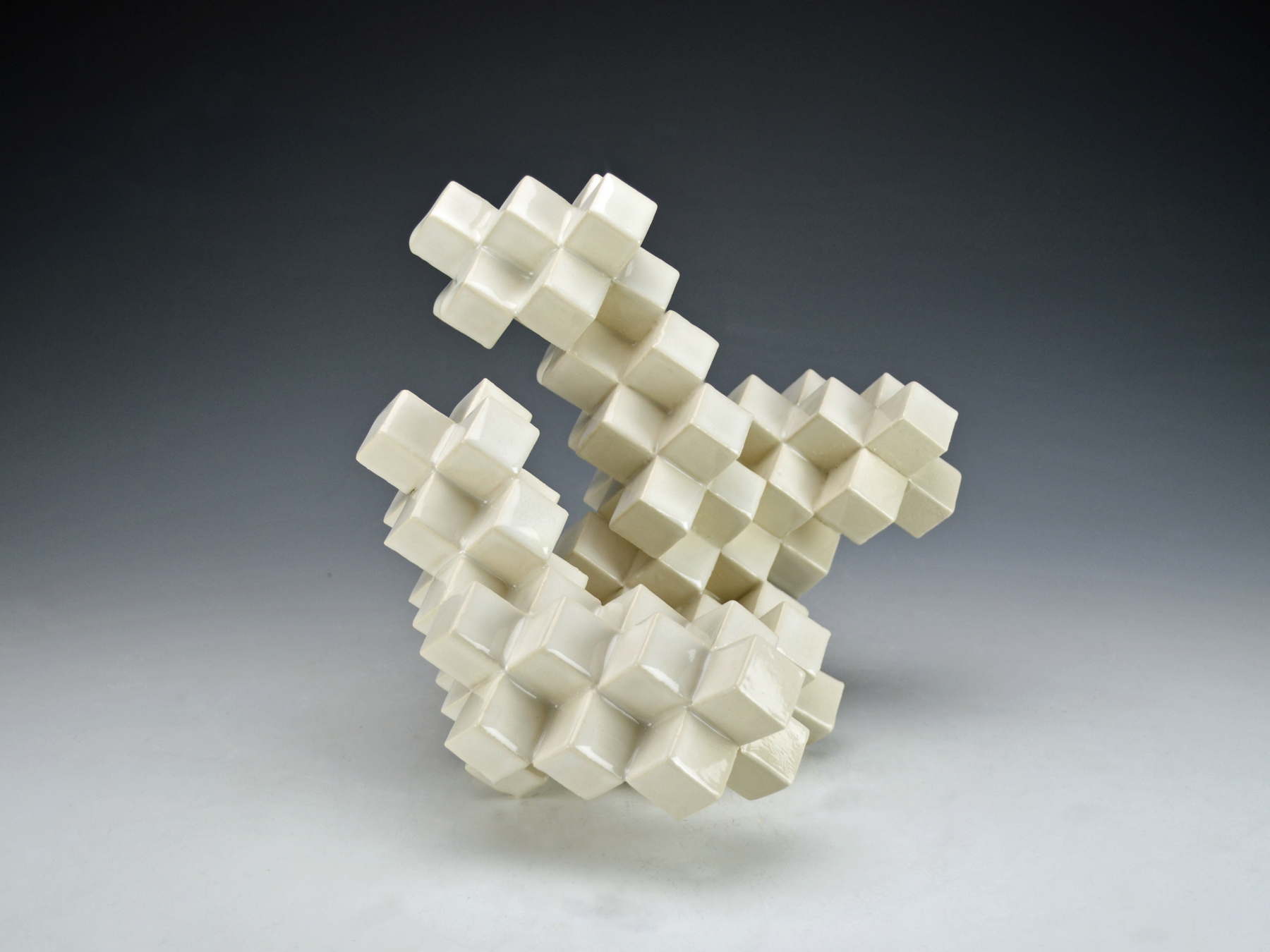 Cubic Series: Construction III  |  11 x 10 x 9 inches  |  Porcelain, Glaze  |  2017