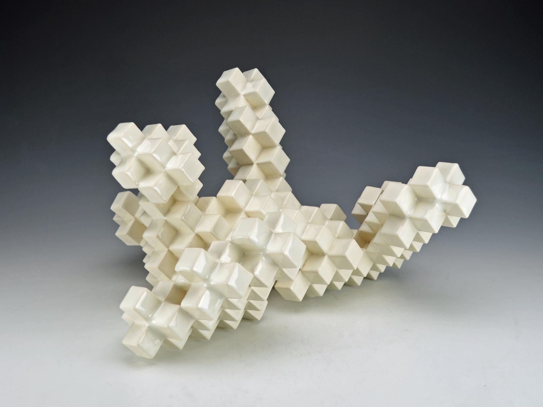 Cubic Series: Construction VI  |  12 x 9 x 18 inches  |  Porcelain, Glaze  |  2017