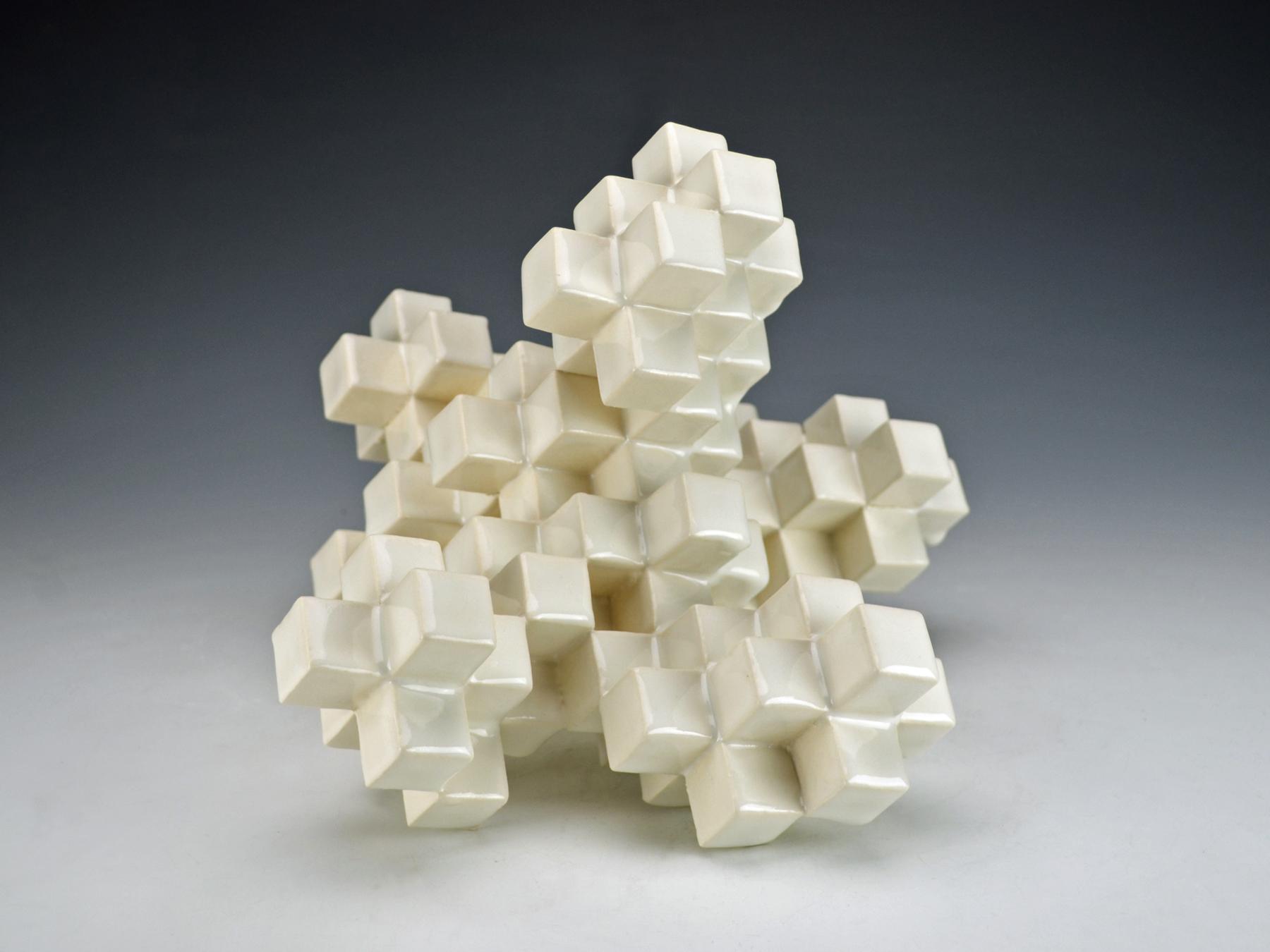 Cubic Series: Construction V  |  12 x 9 x 12 inches  |  Porcelain, Glaze  |  2017