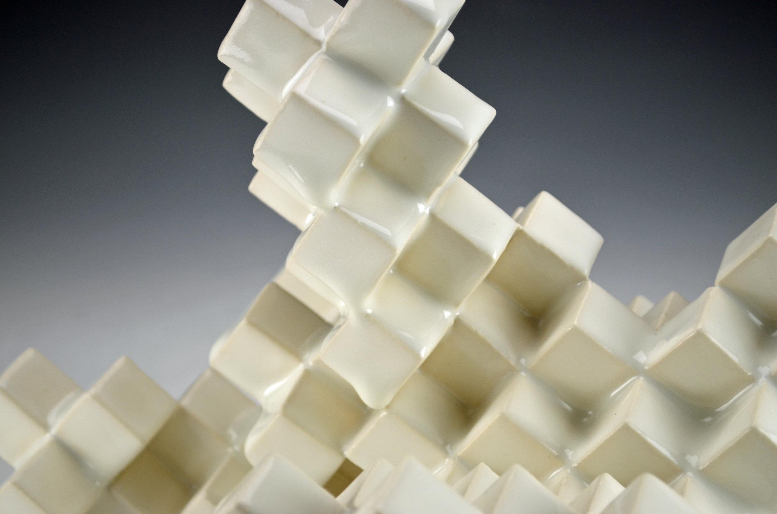 Cubic Series: Construction V (Detail)  |  11 x 11 x 9 inches  |  Porcelain, Glaze  |  2017