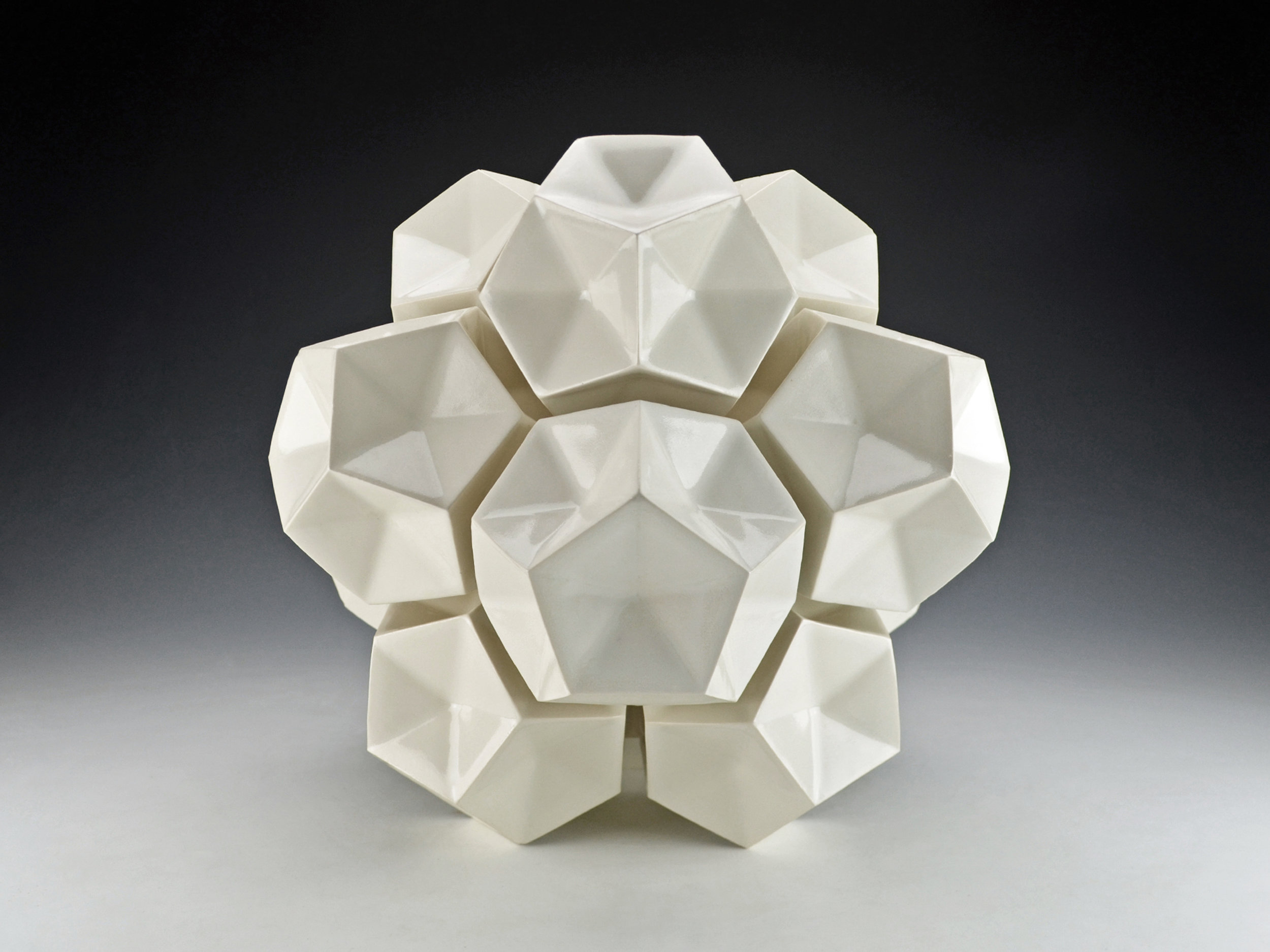 Dodecahedron Construction (White)  |  14 x 14 x 14 inches  |  Porcelain, Glaze  |  2017