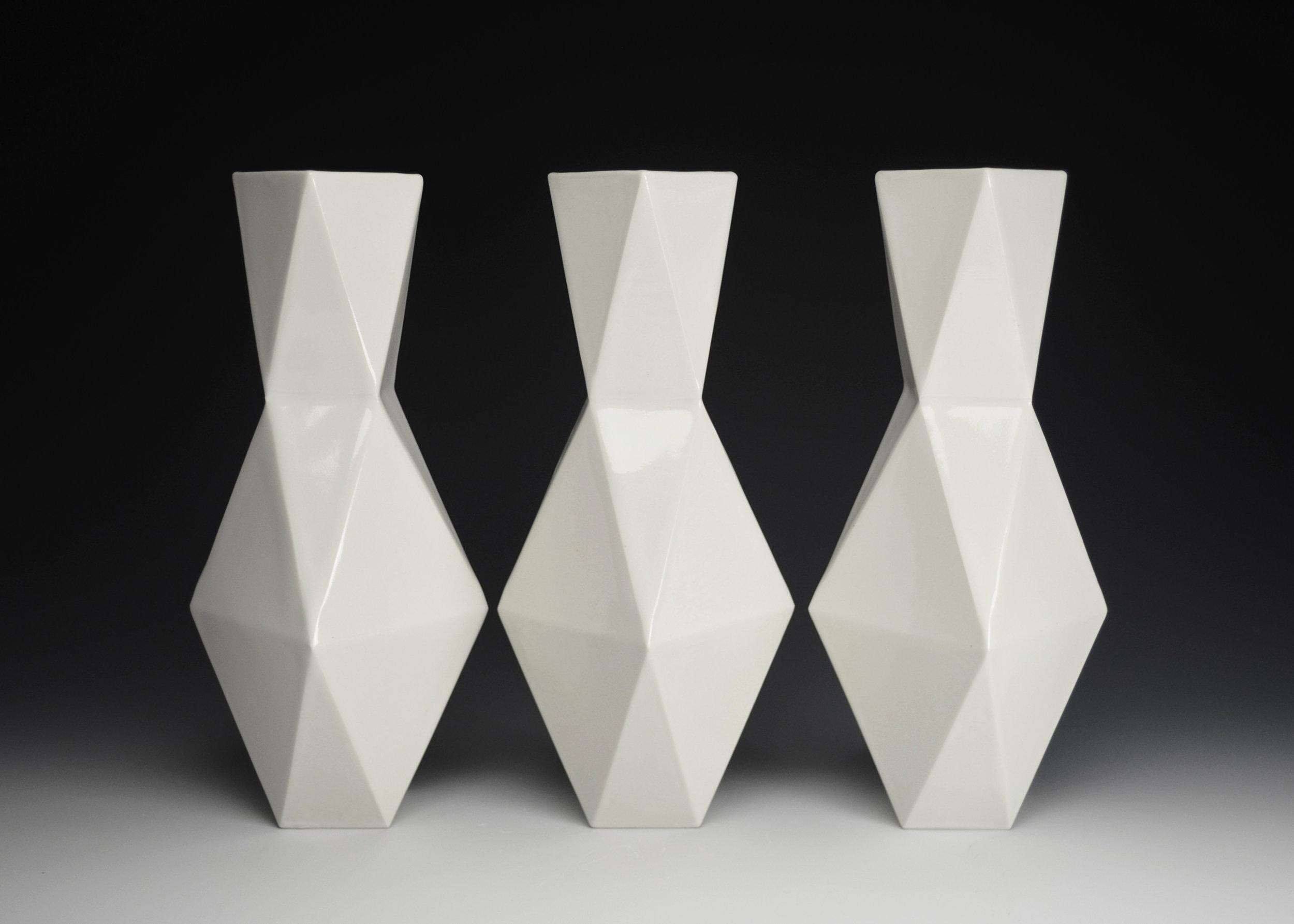 Vases (White)  |  12.5 x 5 x 5 inches  |  Porcelain, Glaze  |  2017