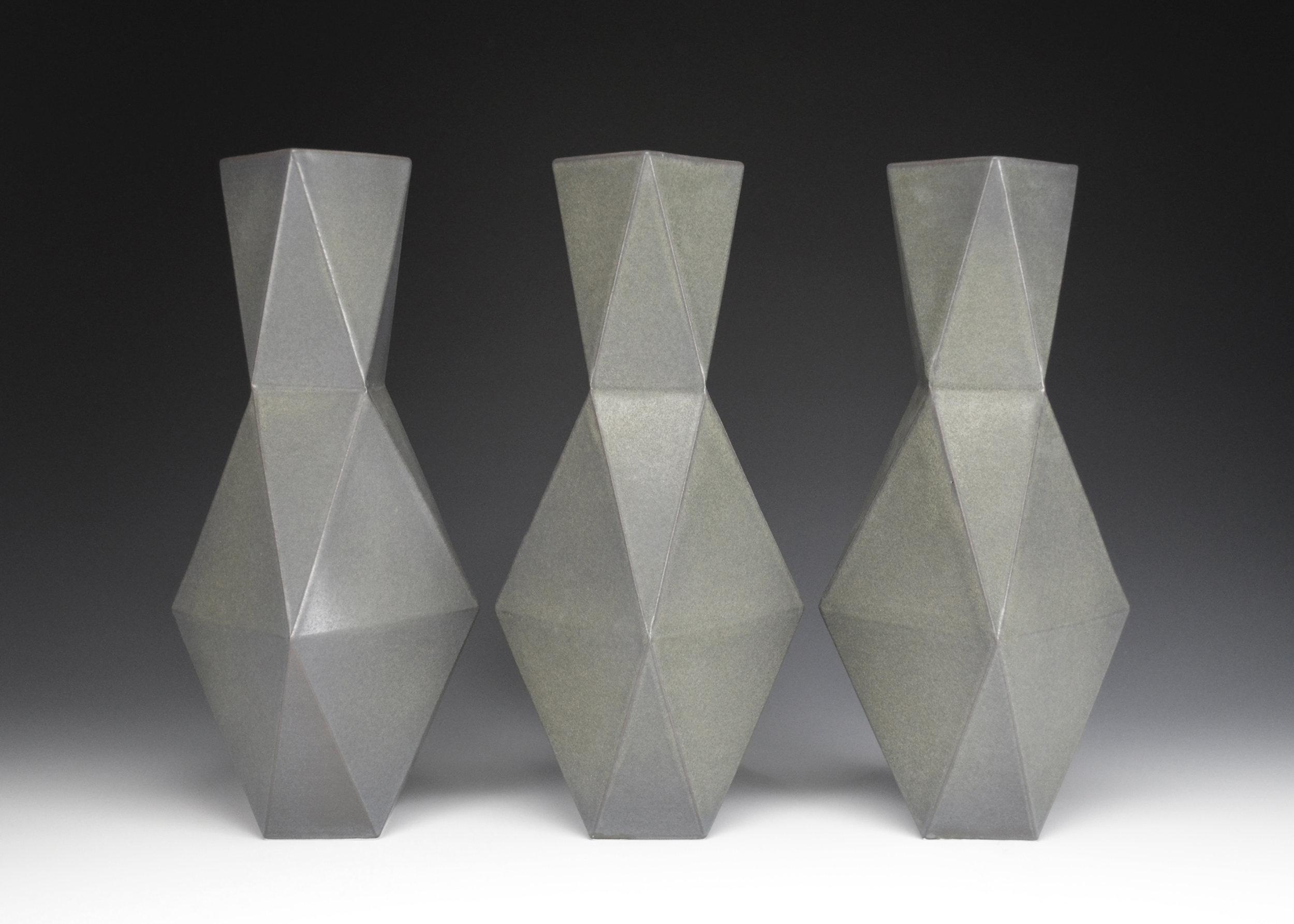 Vases (Black)  |  12.5 x 5 x 5 inches  |  Porcelain, Glaze  |  2017