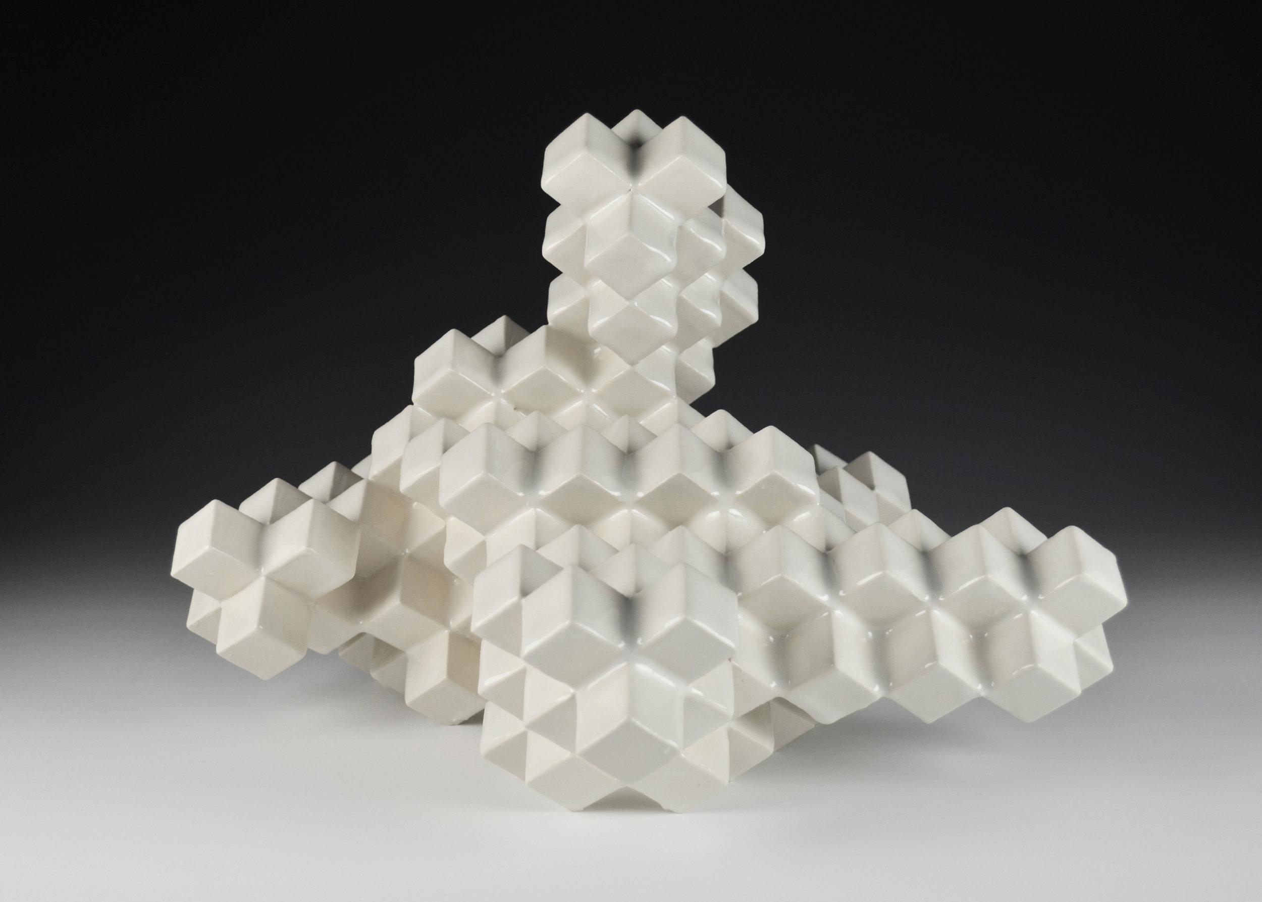Cubic Series: Construction VII  |  11 x 10 x 11 inches  |  Porcelain, Glaze  |  2017