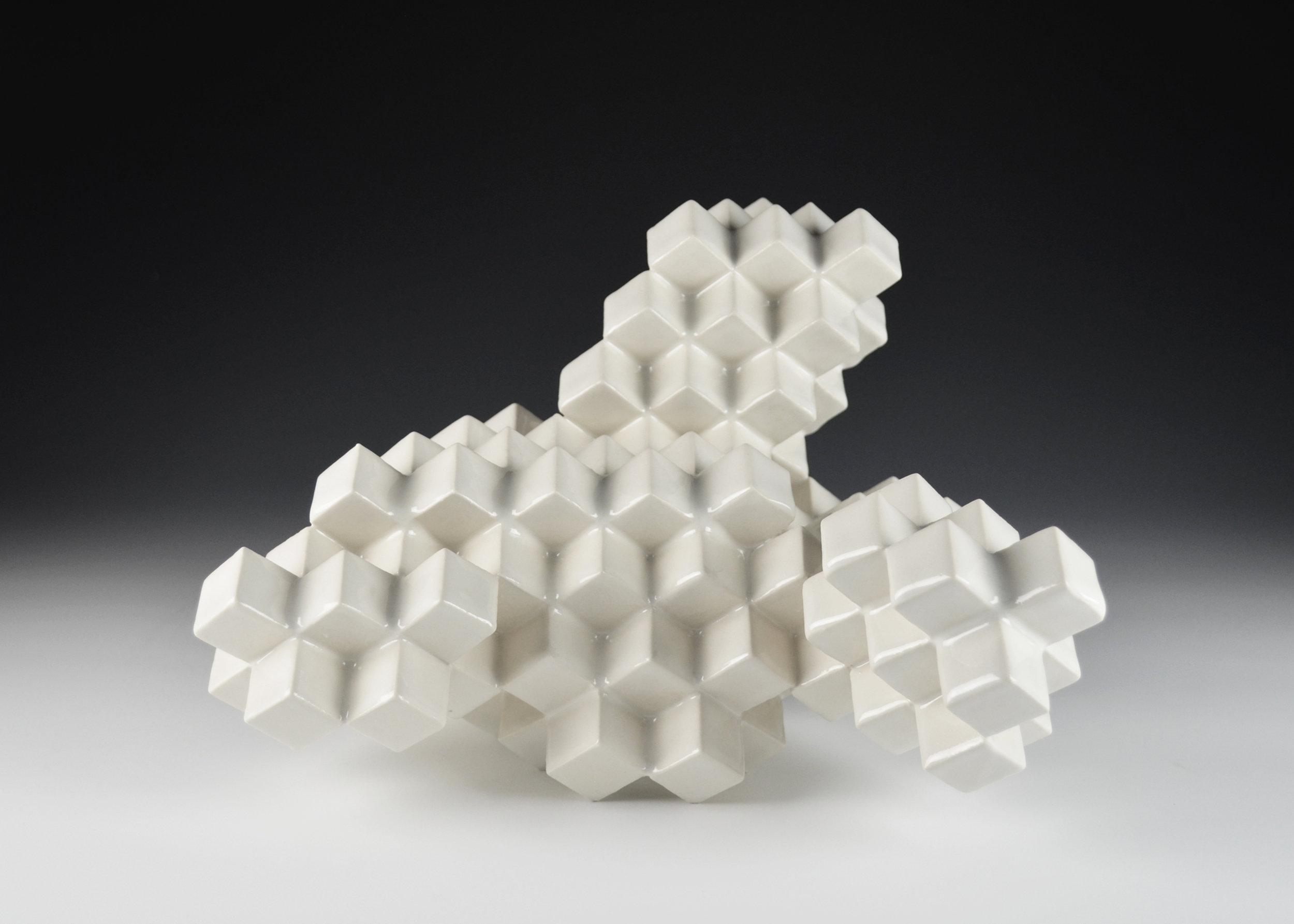 Cubic Series: Construction VIII  |  10 x 12 x 11 inches  |  Porcelain, Glaze  |  2017